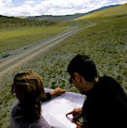 A Couple Hiking Across The Atlai Art Print