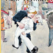 A Couple Reenacts A Famous World War II Kiss Art Print