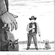 A Cowboy With A Dog Speaks To His Opponent Art Print