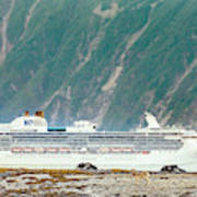 A Cruise Ship Passes By A Wolf Roaming Art Print