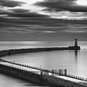 A Curving Pier With A Lighthouse At The Art Print