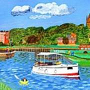 A Day On The River In Exeter Art Print