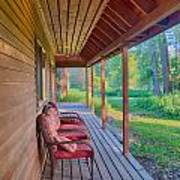 A Deck By The Methow River At Cottonwood Cottage Art Print