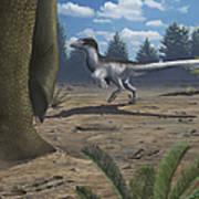 A Deinonychosaur Leaves Tracks Art Print