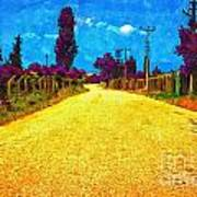 A Digitally Converted Painting Of An Empty Country Lane Art Print