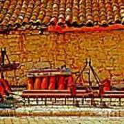 A Digitally Converted Painting Of Farm Machinery In A Turkish Village Art Print