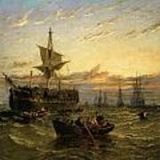 A Dismantled East Indiaman In The Thames Estuary Art Print by William Adolphus Knell