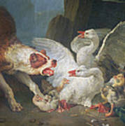 A Dog Attacking Geese, 1769 Oil On Canvas Art Print