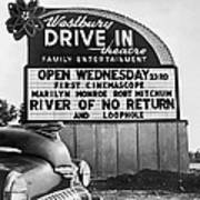A Drive-in Theater Marquee Art Print