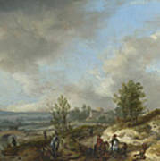 A Dune Landscape With A River And Many Figures Art Print
