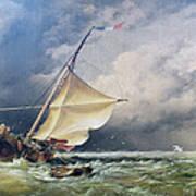 A Dutch Beurtman Aground Art Print