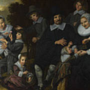 A Family Group In A Landscape Art Print