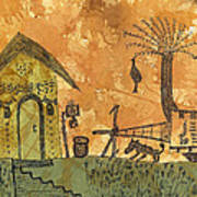 A Farm In India With Hut And Bull Cart Art Print