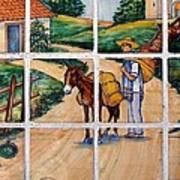 A Farm Scene On Plaza Tiles Art Print