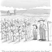 A Farmer And His Daughter Look At Cornstalks Who Art Print by Paul Noth