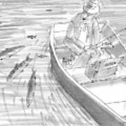 A Fisherman On A Rowboat Looks At The Fish Art Print