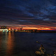 a flaming sunset at Tel Aviv port Art Print