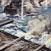 A Fleet Of Battleships Firing Art Print