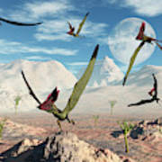 A Flock Of Thalassodromeus Pterosaurs Art Print