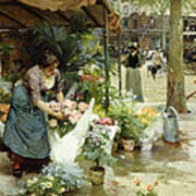 A Flower Market In Paris Art Print