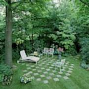 A Garden With Checkered Pavement Art Print