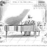 A General Plays Piano At A Bar Art Print