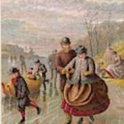 A Gentleman Helps A Lady Skate Art Print