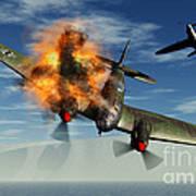 A German Heinkel Bomber Plane Crashing Art Print