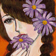 A Girl With Daisies Art Print