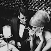 A Glamorous 1960s Couple Dining Art Print