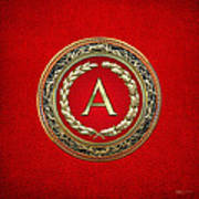 A - Gold Vintage Monogram On Red Leather Art Print