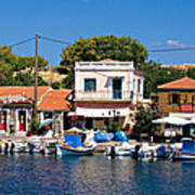 A Greek Island Harbor Art Print