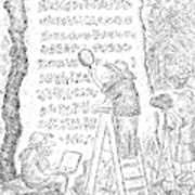 A Group Of Archaeologists Decipher A Large Art Print