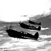 A Group Of P-40 Warhawks Fly Art Print