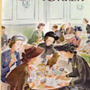 A Group Of Women Review A Dinner Receipt Art Print