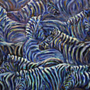 A Group Of Zebras Art Print