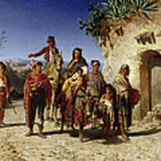 A Gypsy Family On The Road, C.1861 Oil On Canvas Art Print