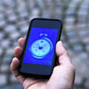 A Hand Holding A Digital Compass Art Print