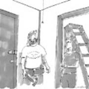 A Handyman Looks Up At A Pull-string Light Bulb Art Print