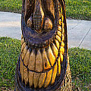 A Happy Tiki From A Palm Tree Stump Art Print