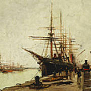 A Harbor Art Print by Eugene Galien-Laloue