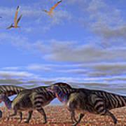 A Herd Of Parasaurolophus Dinosaurs Art Print