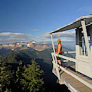 A Hiker Enjoys The View Art Print