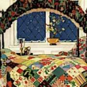 A House And Garden Cover Of A Four-poster Bed Art Print