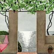 A House And Garden Cover Of A Seaside Patio Art Print