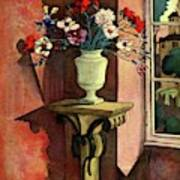 A House And Garden Cover Of A Vase Of Flowers Art Print