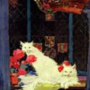 A House And Garden Cover Of White Cats Art Print