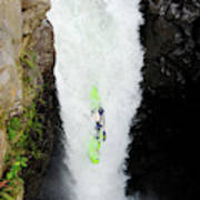 A Kayaker Takes The Plunge On Huge Art Print