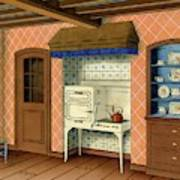 A Kitchen With An Old Fashioned Oven And Stovetop Art Print