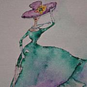 A Lady On A Windy Day Art Print